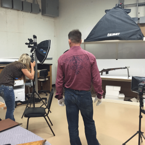 Iain and Kenda taking different shots for Recoil Magazine