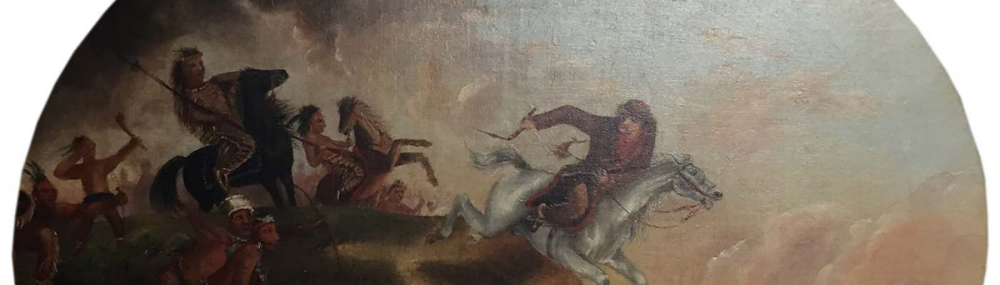 Unknown artist. McCullough's Leap, after 1852. Oil on canvas, 24.875 x 29.5 inches. Gift of Edgar William and Bernice Chrysler Garbisch. 10.77 (detail)