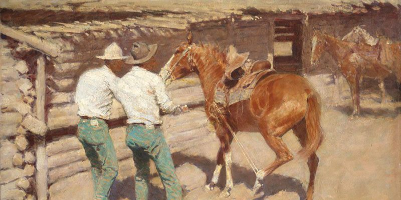 Frederic Remington (1861 – 1909). The War Bridle, 1907. Oil on canvas. Gift in memory of A. Barton Hepburn and Cordelia H. Cushman. 8.12