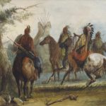Alfred Jacob Miller.  Sioux Setting Out on an Expedition to Capture Wild Horses. Watercolor, gouache, pen, ink, graphite on board. Ricketts Art Collection