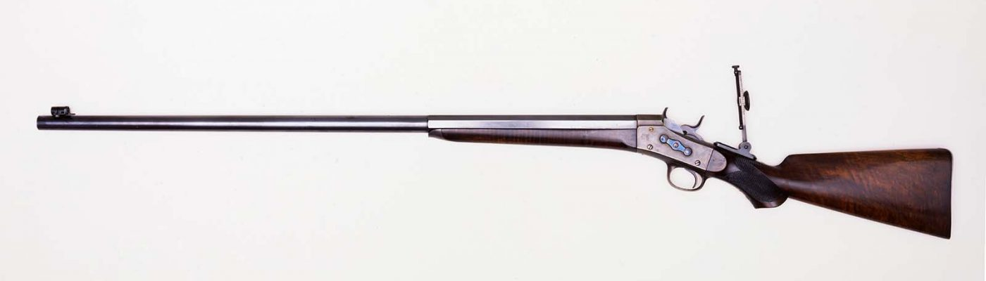 Remington Rolling Block Creedmoor Target Rifle rifle that belonged to George Armstrong Custer. .44 caliber. Gift of Olin Corporation, Winchester Arms Collection. 1988.8.735