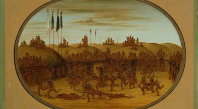 "George Catlin (1796-1872). ""The Last Race, Mandan (Eeh-K'na-K'nah-Pic),"" ca. 1855-1870. Oil on paperboard. Gift of Paul Melon. 28.86"