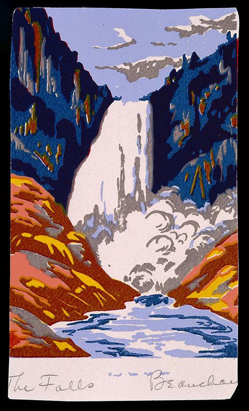 """The Falls,"" Beauchamp, John, Jr. c. 1930, serigraph on paper, Yellowstone National Park-Lower Falls of the Yellowstone. 3.95.1"