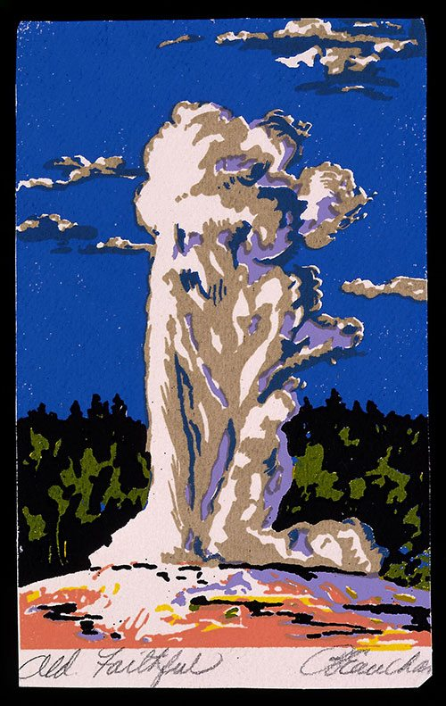 """Old Faithful,"" Beauchamp, John, Jr. c.1930, serigraph on paper, Yellowstone National Park-Old Faithful Geyser. 3.95.2"