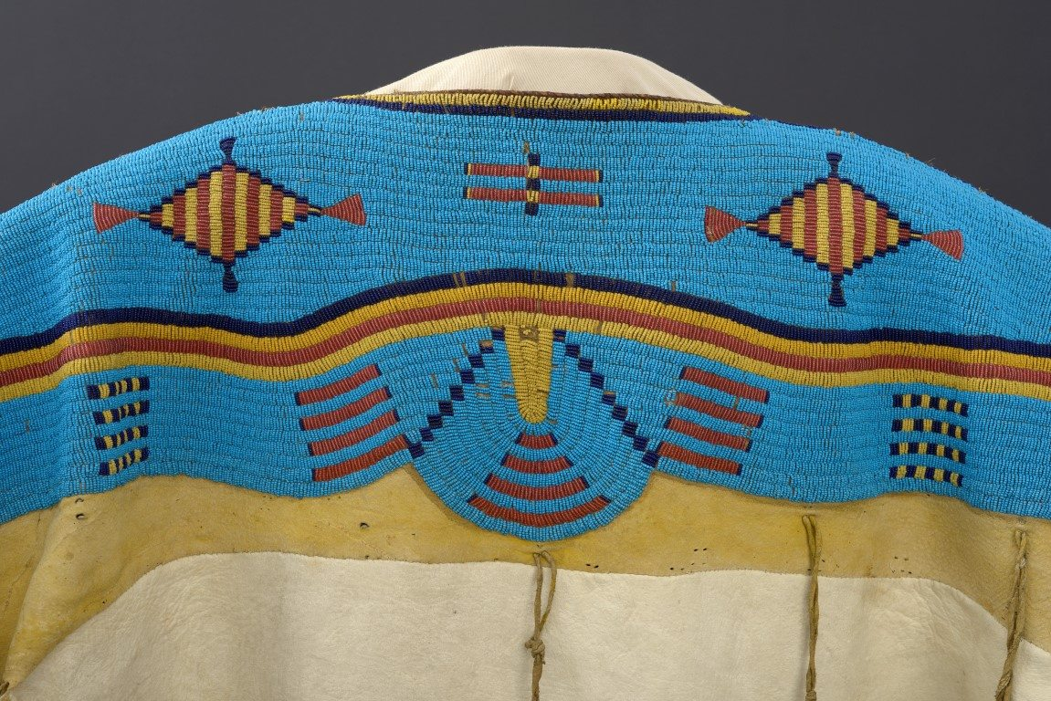 """Detail, Northern Plains dress with glass """"seed beads."""" The Paul Dyck Plains Indian Buffalo Culture Collection, NA.202.1265."""
