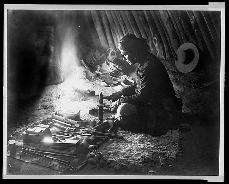 Navajo Silversmith, image courtesy Library of Congress.