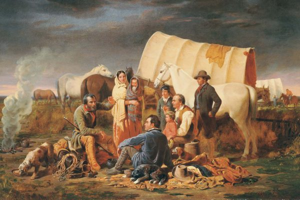 "William Ranney (1813-1857). ""The Prairie Burial,"" 1848. Gift of Mrs. J. Maxwell Moran. 3.97 (detail)"