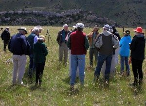 In June 2014, Draper Museum Advisory Board members visited a golden eagle nest site (on cliff in background) to learn about the latest research developments.