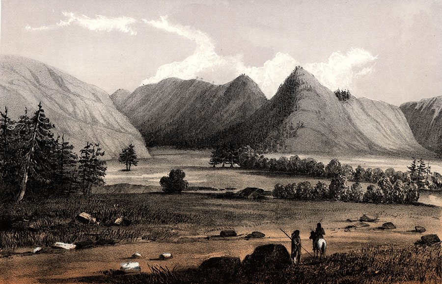 """After John Mix Stanley, """"Hell Gate, Entrance to Cadotte's Pass from the West. From Reports of Explorations and Surveys to Ascertain the Most Practicable and Economic Route for a Railroad from the Mississippi River to the Pacific Ocean,"""" Volume 12, ca. 1857-1860. Colored lithograph. 12.87.3"""