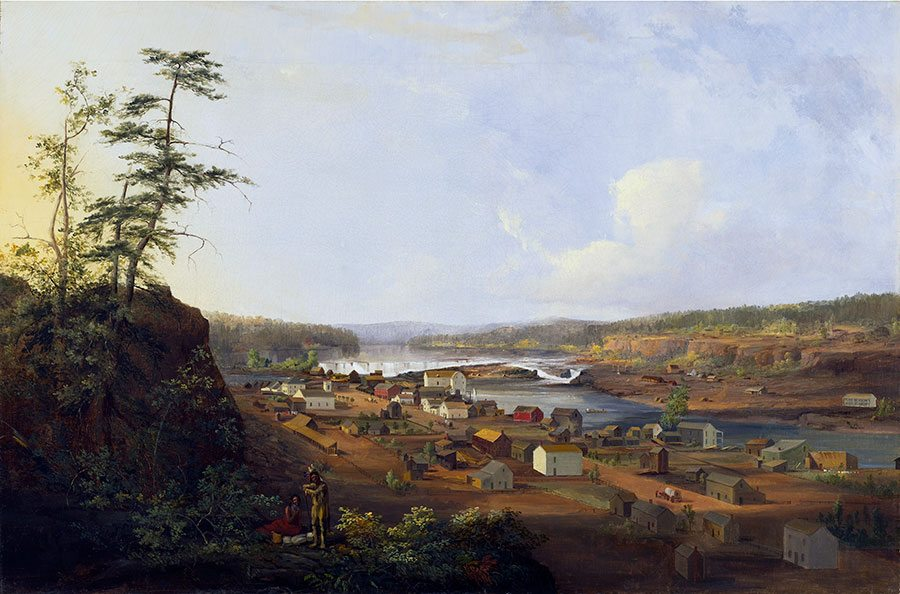 """John Mix Stanley (1814-1872). """"Oregon City on the Willamette River,"""" ca. 1850-1852. Oil on canvas. Amon Carter Museum of American Art, Fort Worth, Texas (1979.17) L.381.2015.2"""