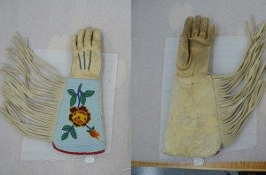 One of a pair of gauntlets displaying Crow beadwork (left). Same gauntlet displaying palm (right). Acc # 1.69.775