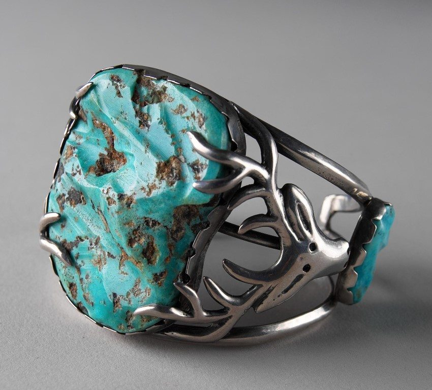 Stag Bracelet, Southwest, 1954. Gift of Jo and Warren Buxton, Phoenix, Arizona. NA.203.1049.1
