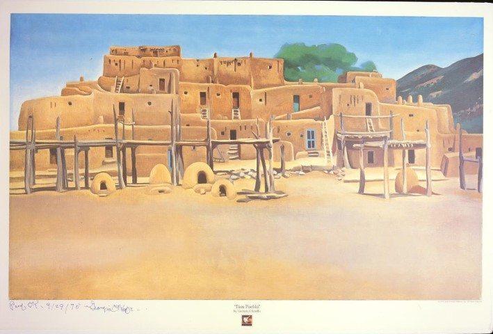 """Taos Pueblo,"" Georgia O'Keeffe, 1975. Lithograph on paper. 25.00.2"