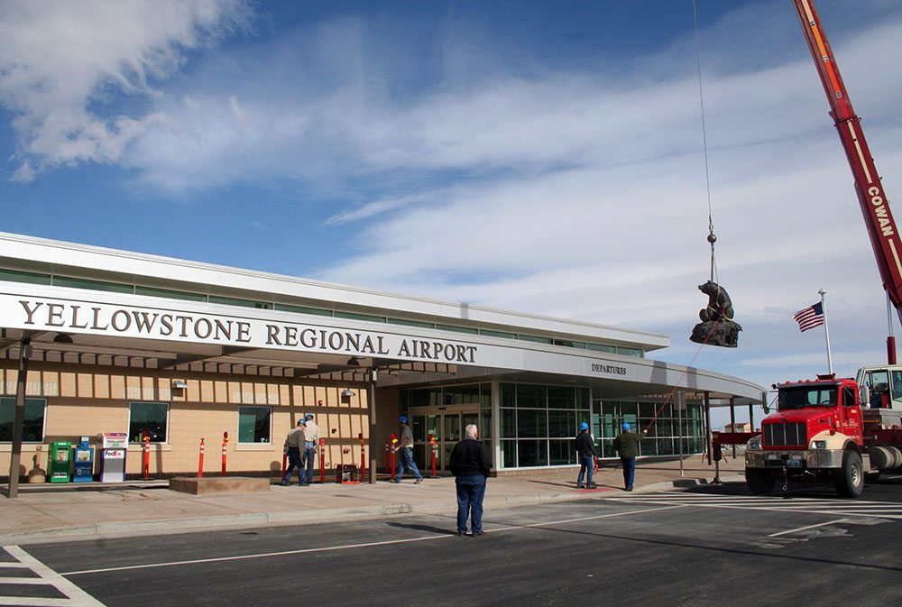 Big Hal overlooking his temporary home at Yellowstone Regional Airport.