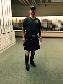 Our Welsh-American visitor in a kilt with cowboy boots.