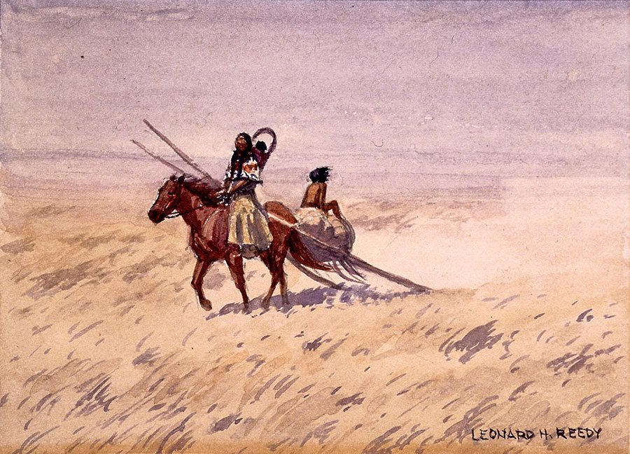 """Leonard Reedy (1899-1956). """"Squaw with Travois,"""" date unknown. Watercolor on paper, 4.375 x 6.25 inches. Gift of Corliss C. and Audrienne H. Moseley. 3.65"""