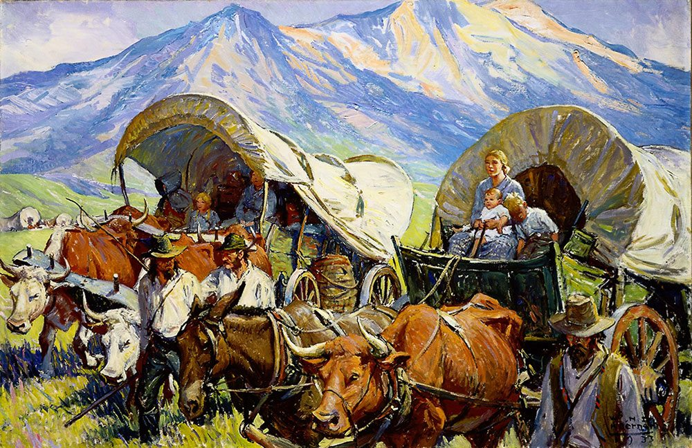 """W.H.D. Koerner (1878-1938). """"The Road to Oregon (Lone Travel, or Travel in Groups of a Few, as Andy Had Known it, Was Practically a Thing of the Past),"""" 1933. Oil on canvas, 26.125 x 40.125 inches. Gift of Ruth Koerner Oliver. 6.92.2"""