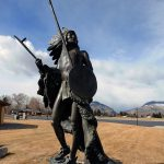 """Washakie"" by R.V. Greeves. Outdoor sculpture at the Center of the West. 7.00.2"