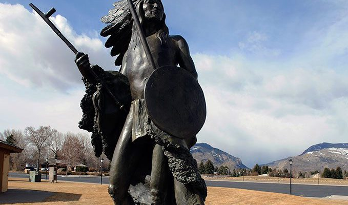 """""""Washakie"""" by R.V. Greeves. Outdoor sculpture at the Center of the West. 7.00.2"""