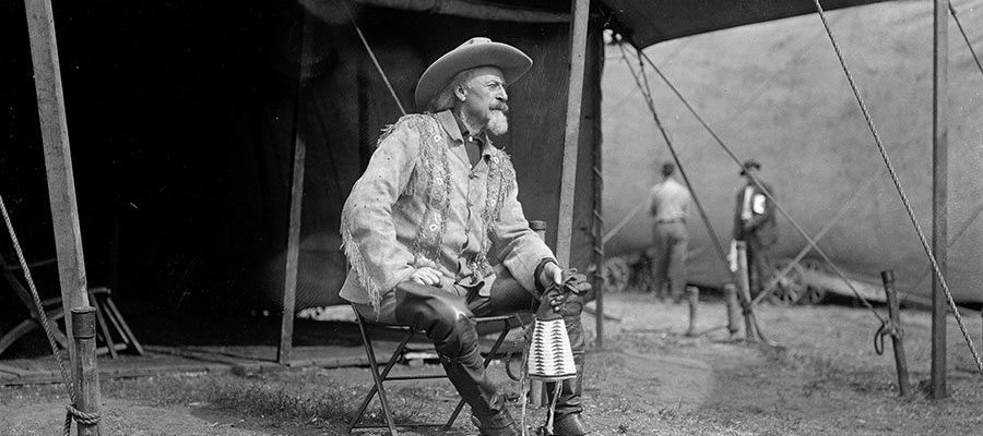 William F. Cody in front of his Wild West show tent, ca. 1900. MS47 David R. Phillips Collection. PN.47.17