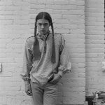 Shown here in Bama's black and white photograph, Rick Williams was the first Indian youth Bama painted. Gift of Lynn and James Bama. PN.243.2F.3.10f.11