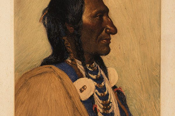 "J.H Sharp (1859 – 1953). ""Wolf Ear, Sioux,"" ca. 1900. Monotype, 10 7/8 x 6 ¾ inches. Gift of Joseph M. Roebling. 2.70"