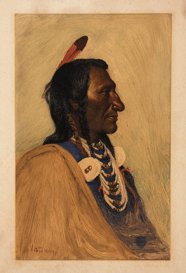 """J.H Sharp (1859-1953). """"Wolf Ear, Sioux,"""" ca. 1900. Monotype, 10 7/8 x 6 3/4 inches. Gift of Joseph M. Roebling. 2.70"""