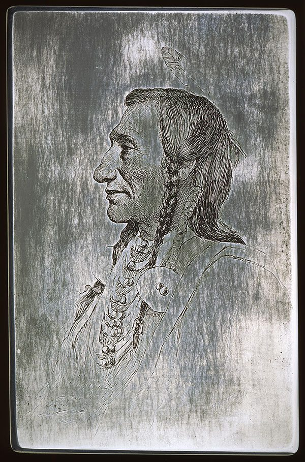 """J.H. Sharp (1859-1953). """"Wolf Ear, Sioux,"""" ca.1900. Steel etching plate, 11 x 7 inches. Gift of Mr. and Mrs. Forrest Fenn. 40.86"""