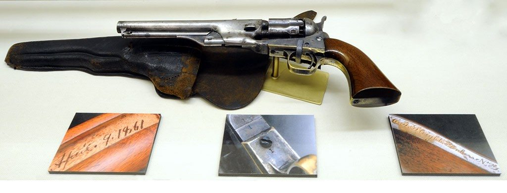 "Colt Model 1861 Navy percussion revolver, serial number 1, as displayed in ""Colt: The Legacy of a Legend."" L.362.2011.1"