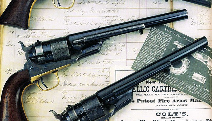 """Three Richards conversions of Colt Model 1860 Army revolvers to .44 Colt centerfire caliber. Courtesy K.T. Roes, WordsWorth, as published in """"Colt and Its Collectors."""""""