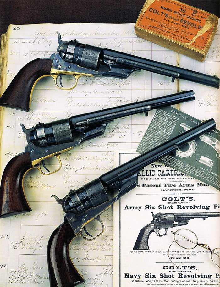 "Three Richards conversions of Colt Model 1860 Army revolvers to .44 Colt centerfire caliber. Courtesy K.T. Roes, WordsWorth, as published in ""Colt and Its Collectors."""