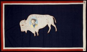 Buffalo Bill's Wild West flag, 1908 season. Gift of Orilla Downing Hollister. 1.69.471