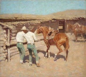 "Frederic Remington (1861 – 1909). ""The War Bridle,"" 1909. Oil on canvas. Gift in memory of A. Barton Hepburn and Cordelia H. Cushman. 8.12"