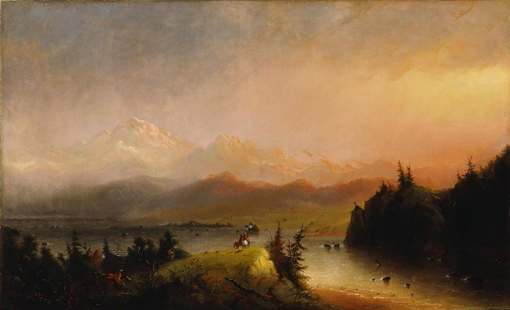 "Alfred Jacob Miller (1810 – 1874). ""Trappers Saluting the Wind River Mountains,"" 1864. Oil on canvas. Gift of the Coe Foundation. 10.70"