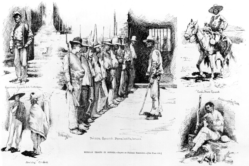 Figure 5. Frederic Remington (1861-1909). Mexican Troops in Sonora, 1886. Harper's Weekly (August 7, 1886), line engraving. (CR# 00048)