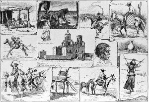 Figure 6. Frederic Remington (1861-1909). Sketches Among the Papagos of San Xavier, 1887. Harper's Weekly (April 2, 1887), line engraving. (CR# 00074).