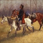 Figure 11. Frederic Remington (1861-1909). Indian Scout with Lost Troop Horse,  1890. Oil on canvas. Private Collection (CR# 01153)