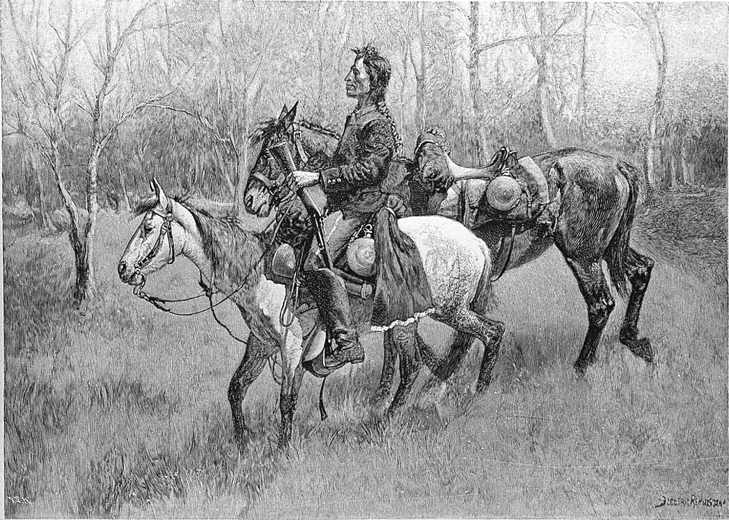 Figure 12. Indian Scout with Lost Troop Horse, 1890 copyright photograph from the Collection of the Library of Congress. (CR# 01153b)