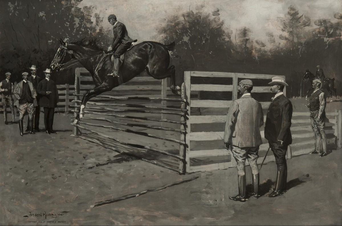 Figure 13. Frederic Remington (1861-1909). Getting Hunters in Horse-Show Form. Oil on canvas. Collection of Gavin Spanierman, Ltd. (CR# 02011)