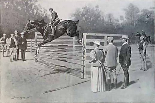 Figure 13. Frederic Remington (1861-1909). Getting Hunters in Horse-Show Form, 1895. Oil on canvas. Harper's Weekly (November 16, 1895), halftone. (CR#02011a)