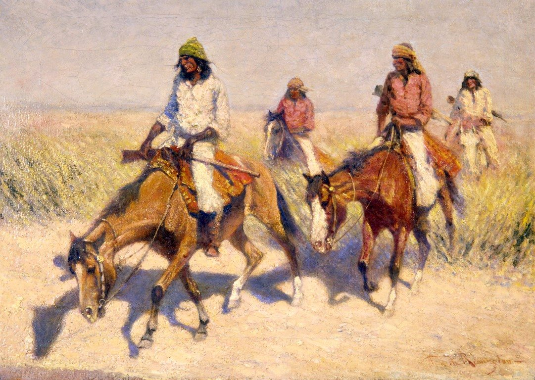 Figure. Unknown Artist. Copy of Remington's 1910 Collier's Weekly print, Pool in the Desert, n.d. Oil on canvas. Collection of the Frederic Remington Art Museum