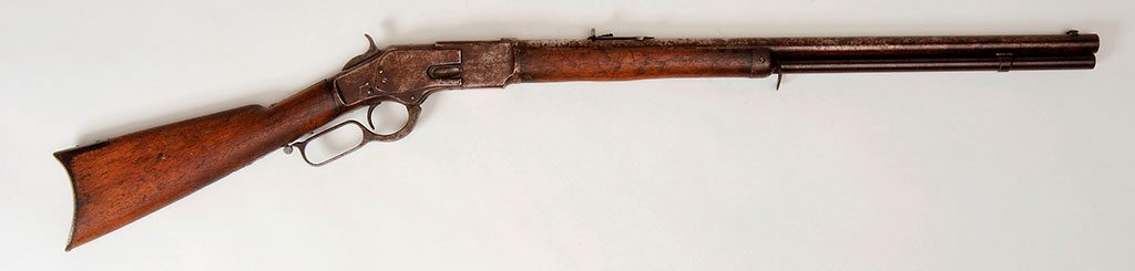 Winchester Model 1873 rifle, smoothbore, .44 caliber, 1875. Belonged to Buffalo Bill who gave it to Will Richard, and then he gave it to H.C. Allen. Buffalo Bill Center of the West, Cody, Wyoming, USA. Original Buffalo Bill Museum Collection. 1.69.789