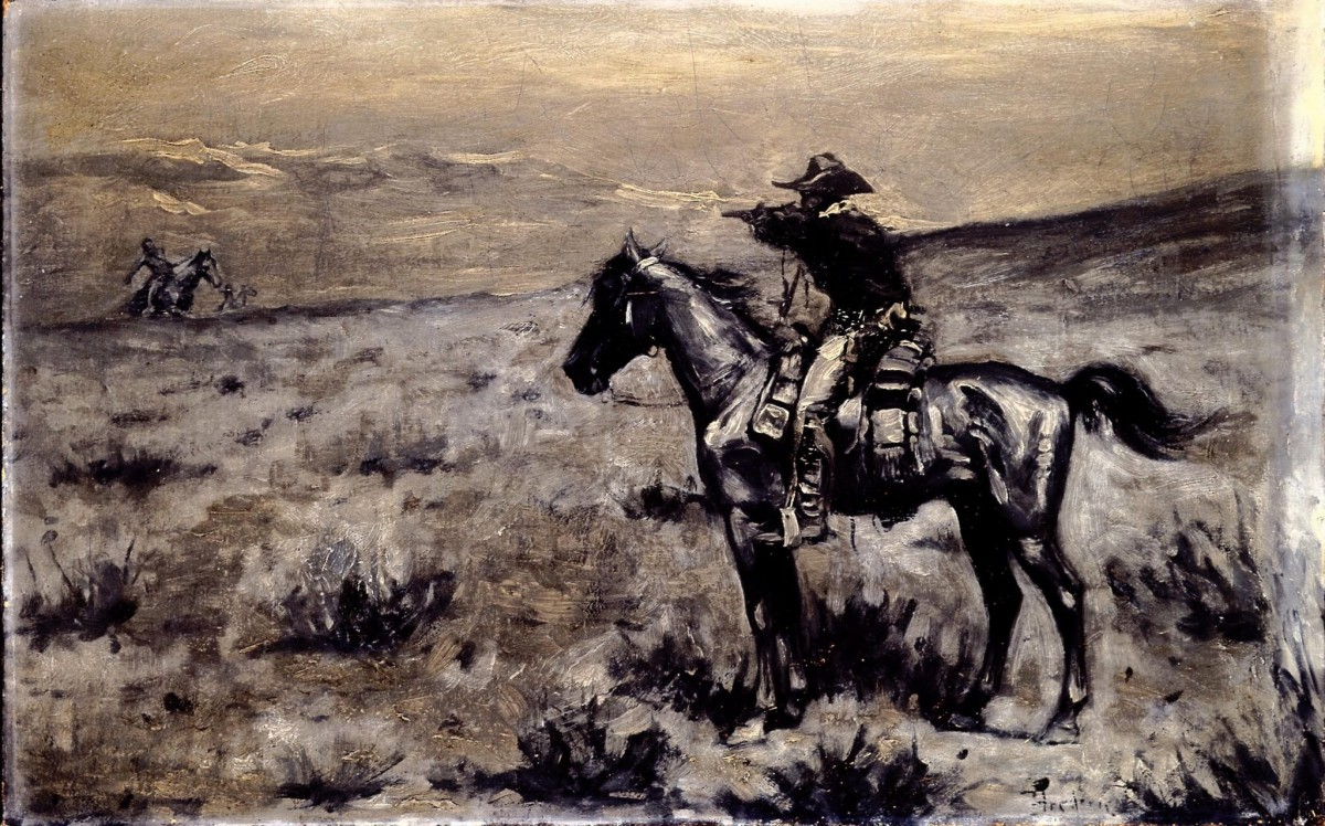 Figure 15. Unknown artist. Lone Rider, n.d. Oil on canvas. Collection of the Buffalo Bill Center of the West