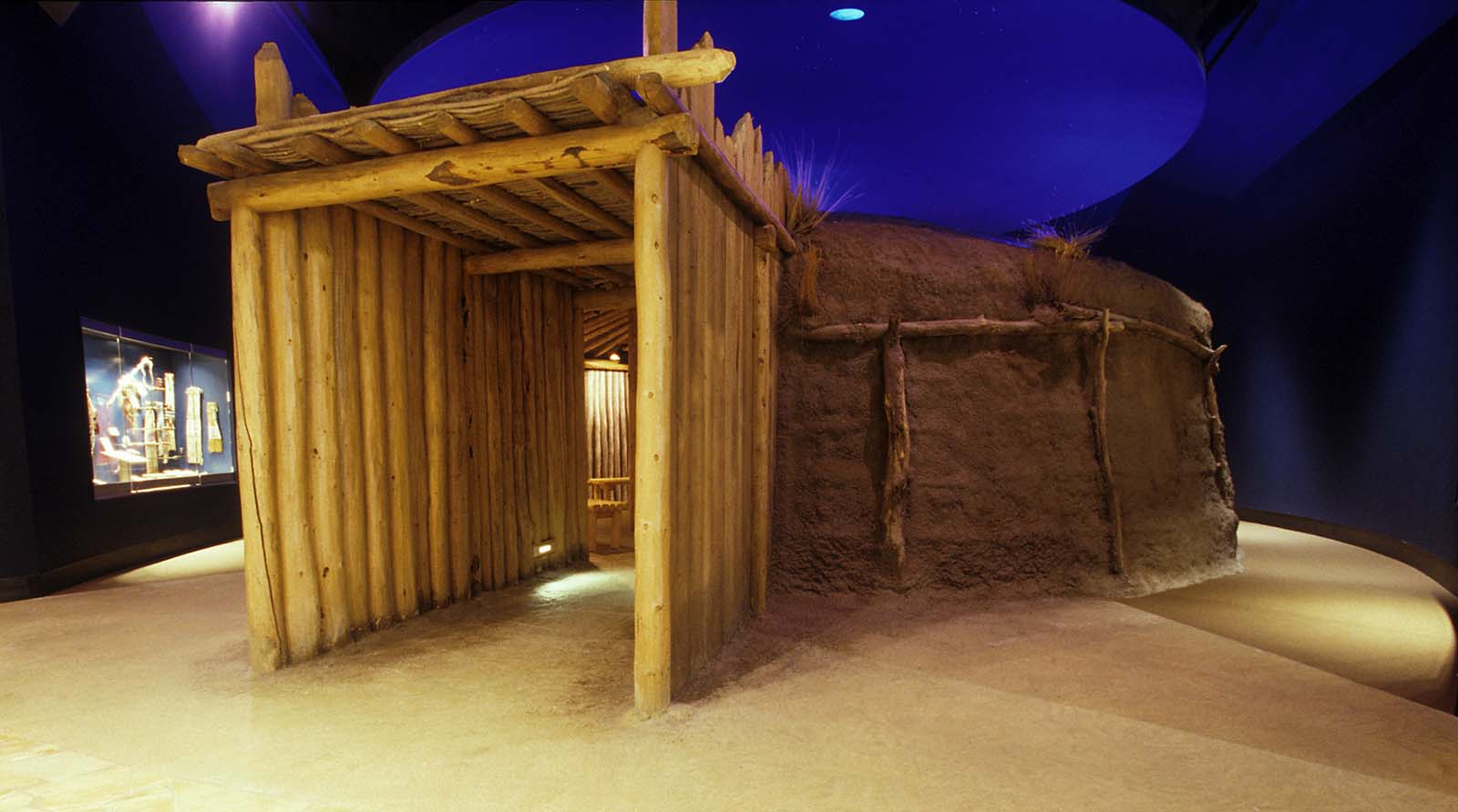 Earth lodge exhibit in the Plains Indian Museum.