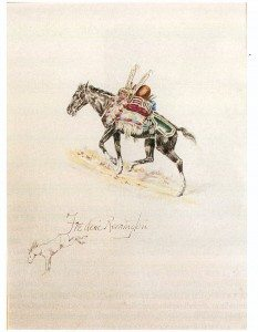 Figure 17. Copy, watercolor, painted in Francis Parkman's book, On the Oregon Trail. Photograph courtesy Frederic Remington Catalogue Raisonne