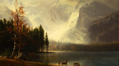 Like many paintings by Bierstadt, this subject might be drawn more from the artist's imagination than from an actual spot. Whyte's Lake, a man-made lake, existed only one year, 1877, and was washed out by floods the following year. Albert Bierstadt (1830-1902). Estes Park, Colorado. Whyte's Lake, ca. 1877. Oil on canvas. Gift of the Coe Foundation. 12.74
