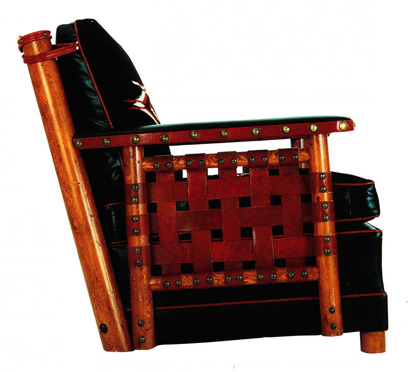 Thomas Molesworth chair, black and red upholstery. Paul Stock Foundation Collection.
