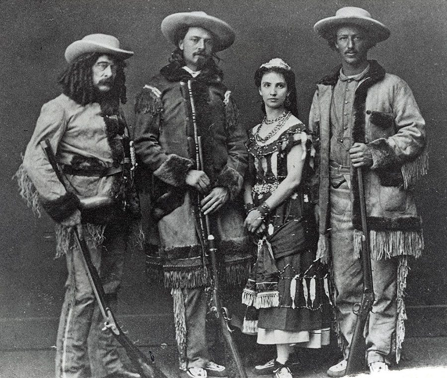 Ned Buntline, Buffalo Bill, Mlle. Morlacchi, and Texas Jack Omohundro (as they appeared in stage plays), ca. 1870. Black and white photograph. MS 71 Vincent Mercaldo Collection. P.71.1280