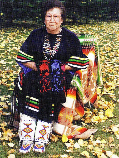 Freda Goodsell. The moccasins Mrs. Goodsell is wearing are her mother's, Christina Standing Bear Mesteth. Photo by John Moler, 1998.