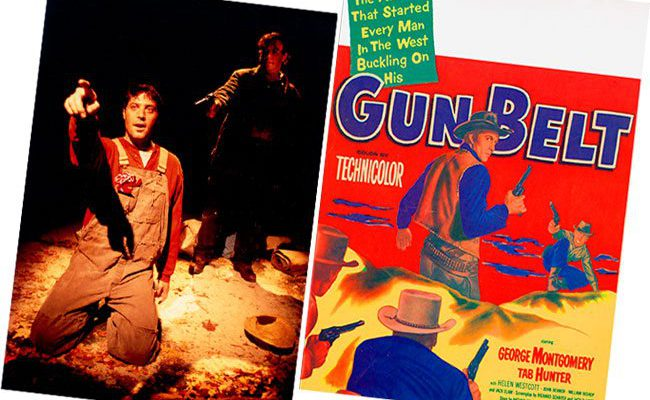 "Image from the stage adaptation of John Steinbeck's ""Of Mice and Men,"" courtesy photograph by Randall Wise for the Iron Age Theatre's production at the Centre Theatre, Norristown, Pennsylvania, November 2002. (R) 1953 United Artists western film lobby card, ""Gun Belt."" MS 323 Don Look Collection."
